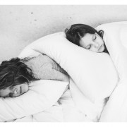 Wool bedding girls sleeping BW